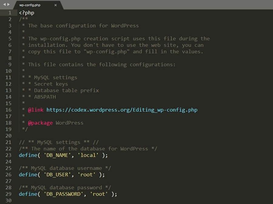 Editando un archivo wp-config.php.