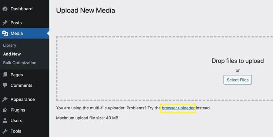 Selecting the 'browser uploader' link in the WordPress native image uploader.