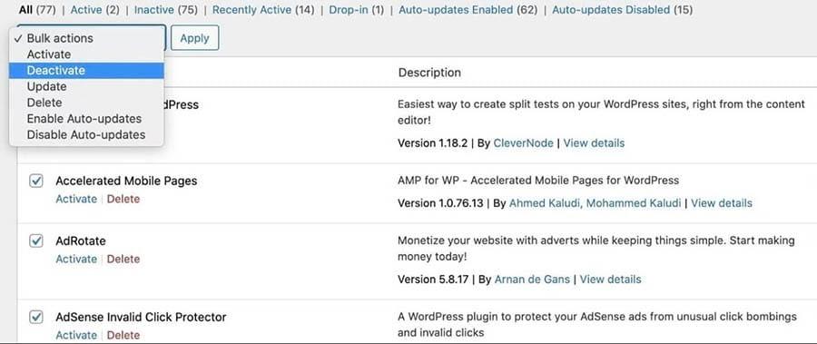 Deactivating plugins in the WordPress dashboard