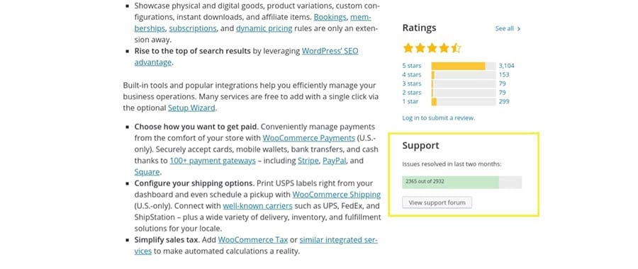 The support section of the WooCommerce plugin.