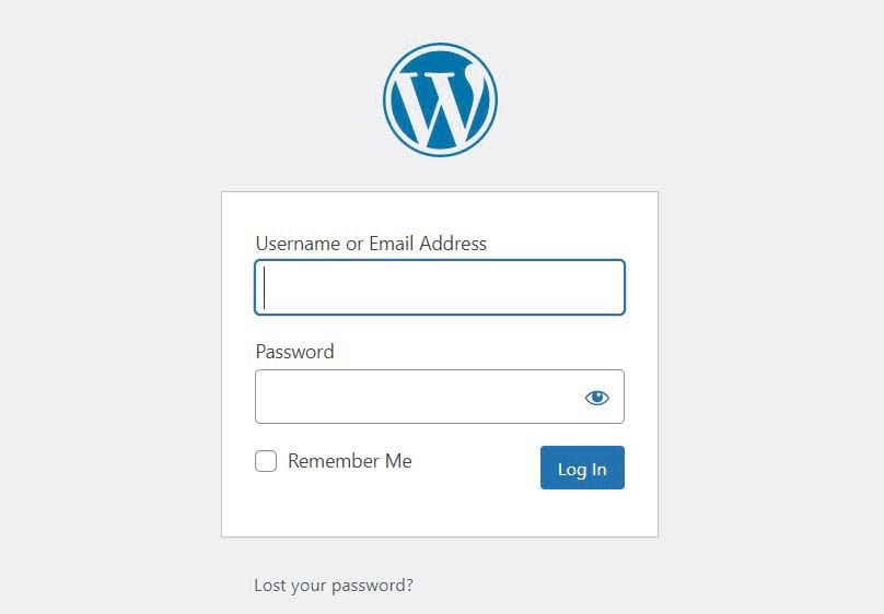 The WordPress login page.