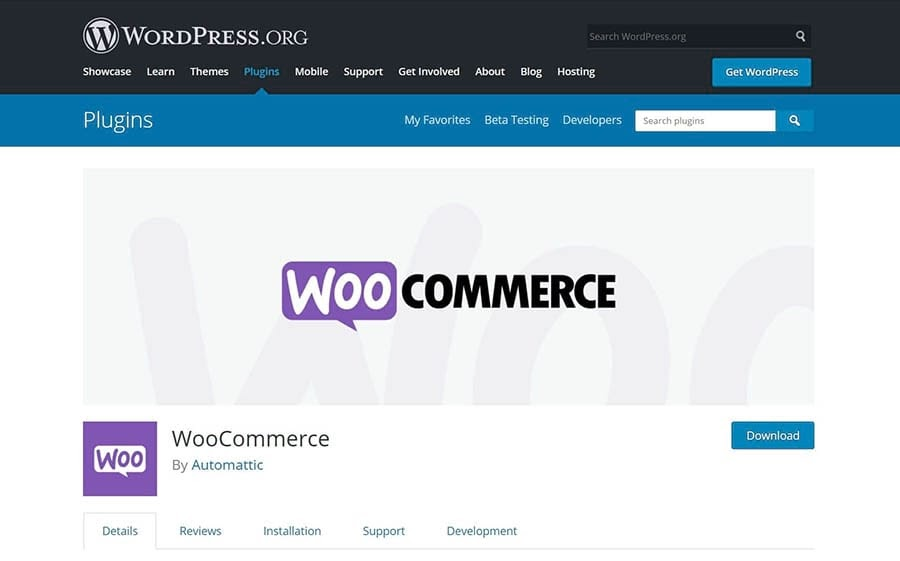 The WooCommerce main page in the WordPress Plugin Directory.