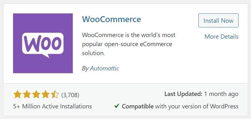 El plugin de WooCommerce visto desde el panel de WordPress.