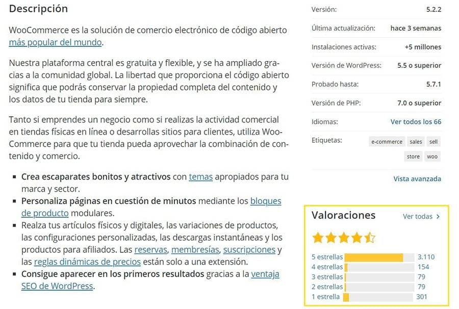 """Una porción de información de la página de información de WooCommerce mostrando la sección """"Valoraciones""""."""