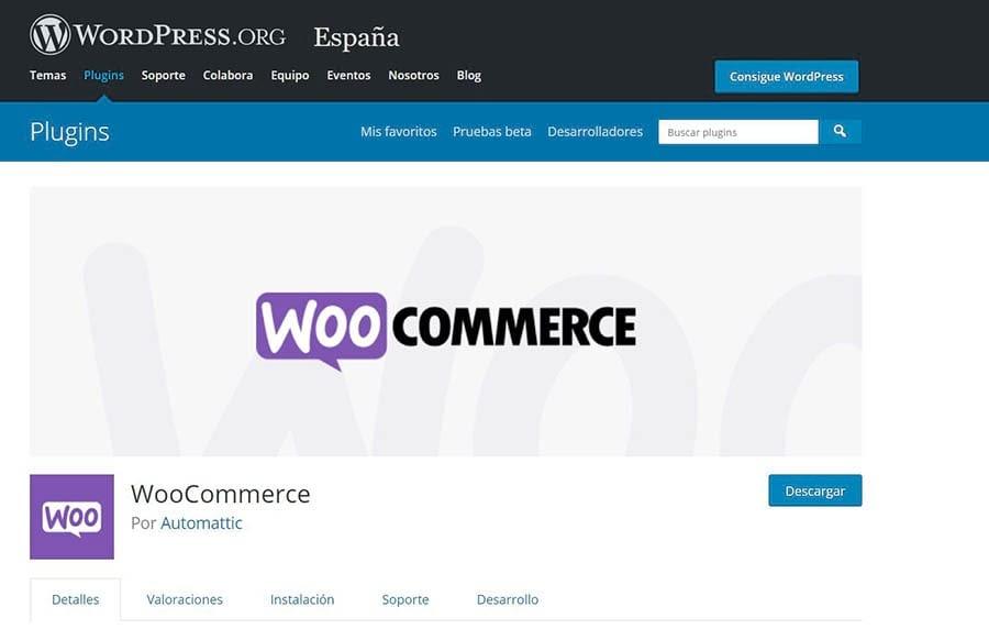 La página principal de WooCommerce en el Directorio de Plugins de WordPress.
