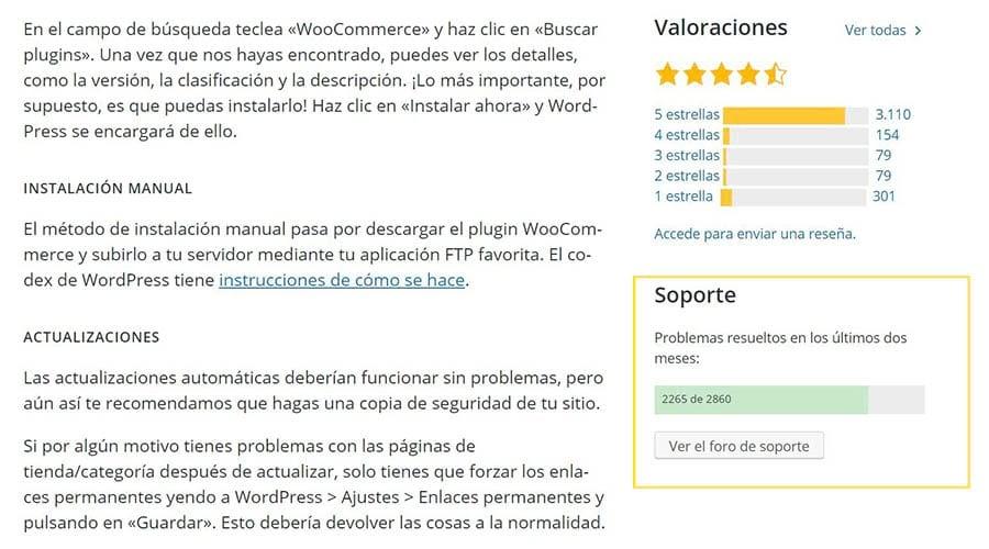 La sección de soporte del plugin WooCommerce.