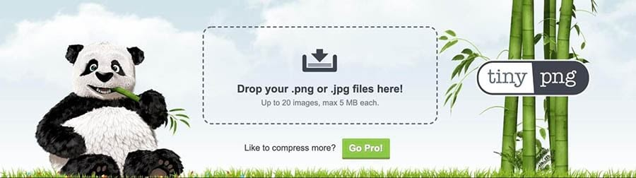 The TinyPNG plugin upload screen.