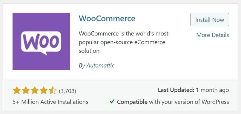 The WooCommerce plugin as viewed from the dashboard.