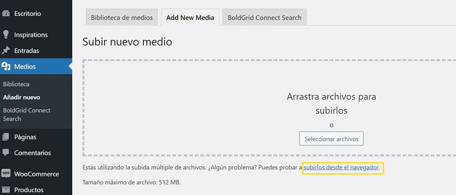 Seleccionando el enlace 'subirlos desde el navegador' en la herramienta nativa de WordPress.