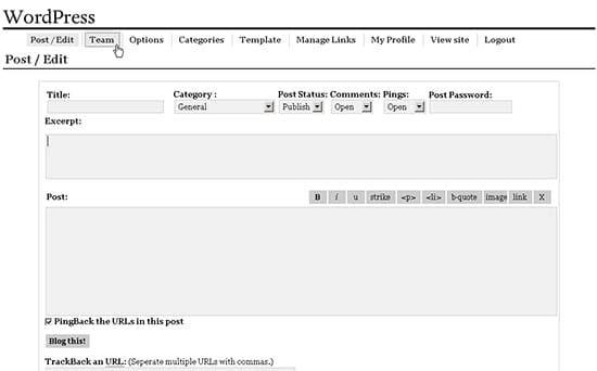 Una interfaz de blog básica de WordPress en el 2003.