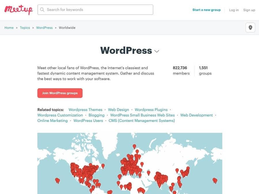 La página inicial del grupo de usuarios de WordPress en Meetup.