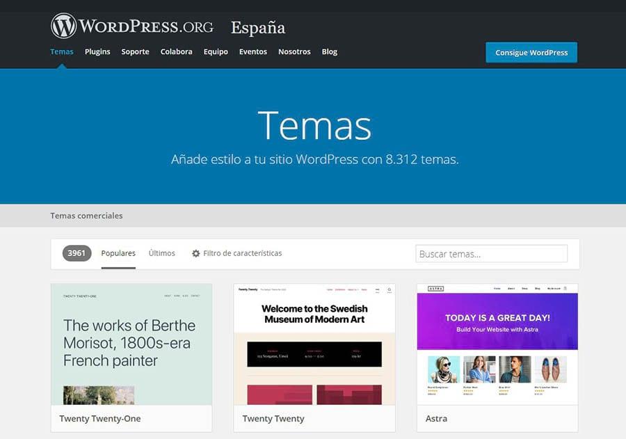 El Directorio de Temas de WordPress.