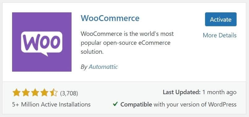 """El plugin WooCommerce con el botón """"Activate."""""""