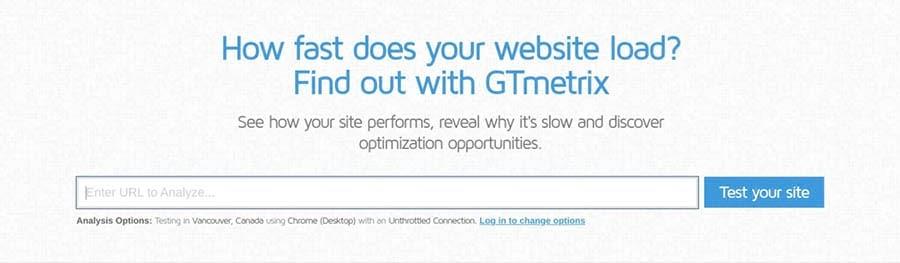 La herramienta de pruebas GTmetrix.