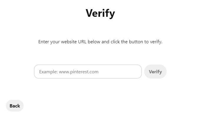 Verifying a website on Pinterest.