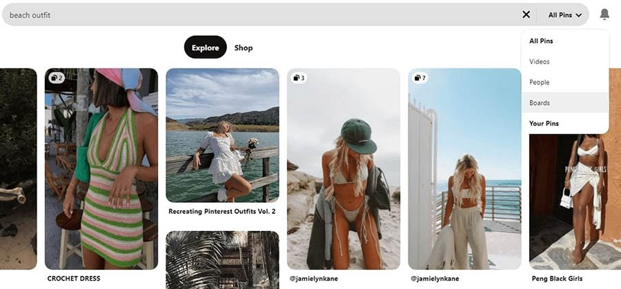 How to search for boards on Pinterest.