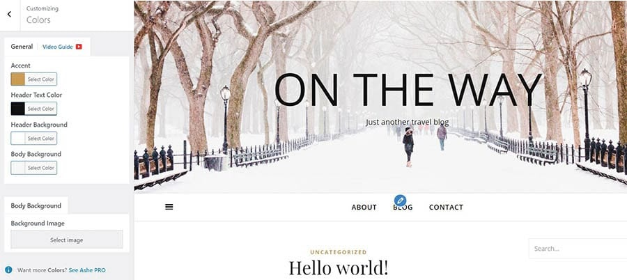 Changing the background of your WordPress site.