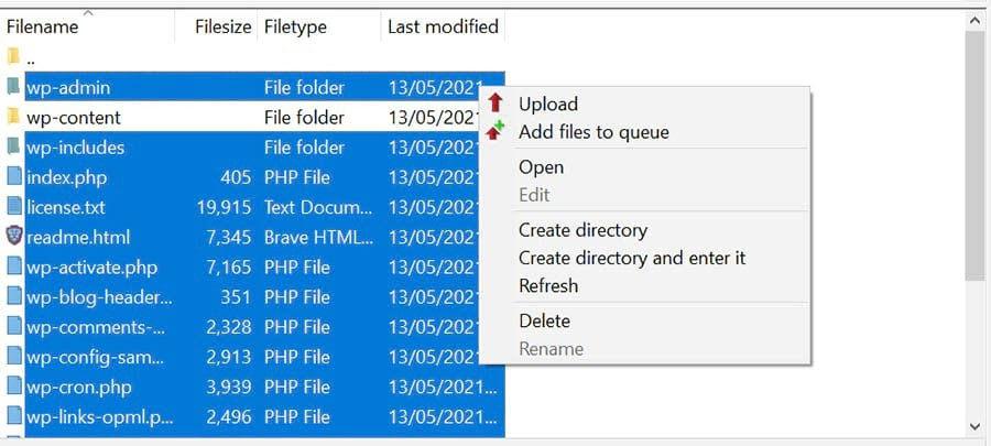 Uploading new WordPress files to your site's root directory.