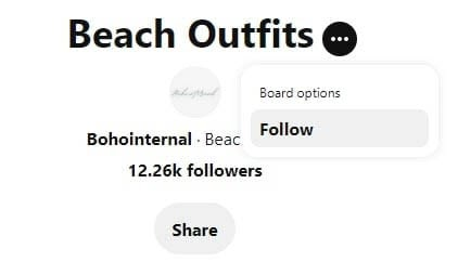 How to follow a board on Pinterest.