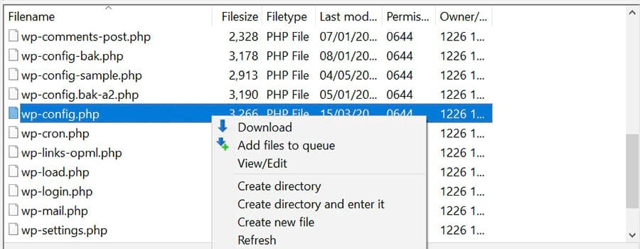 Downloading the wp-config.php file from the root directory with the FTP client.