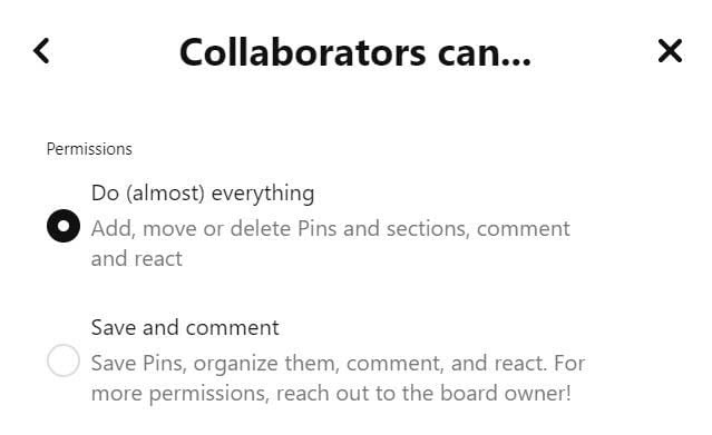 Collaborator settings for group boards on Pinterest.