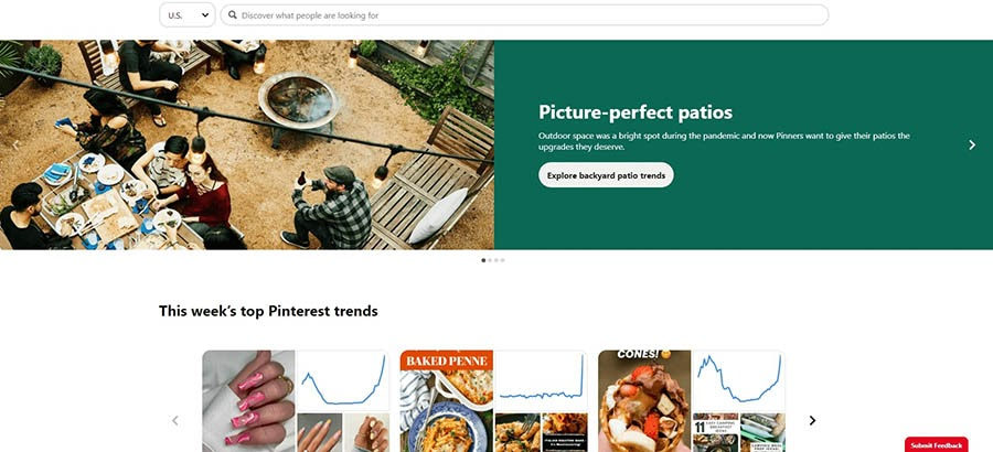 Current trends on Pinterest.