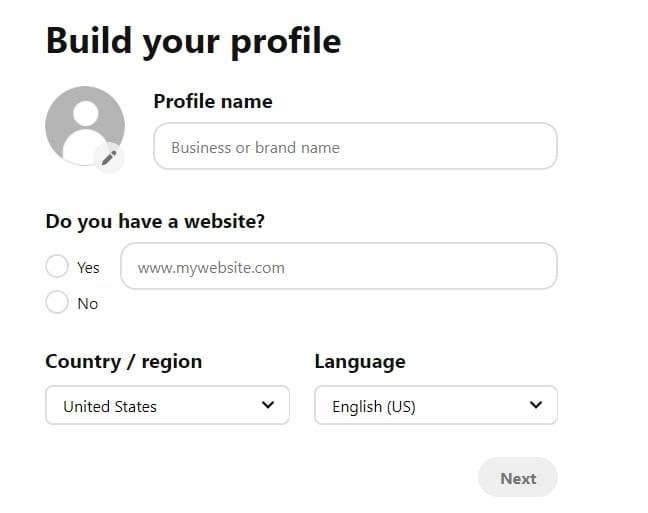 Adding basic profile information to Pinterest Business.