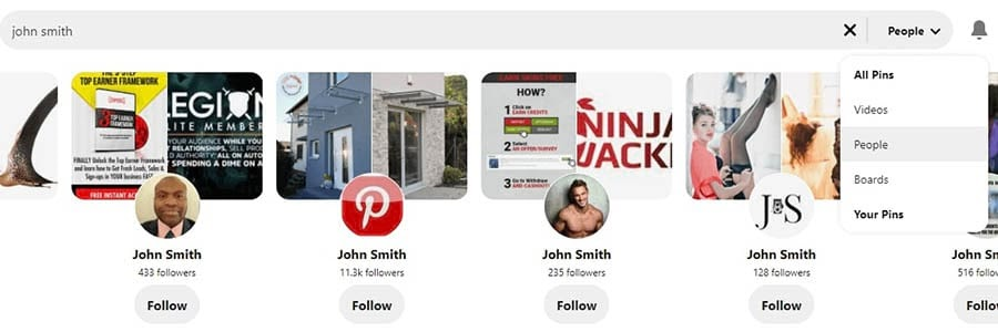 How to search for people on Pinterest.