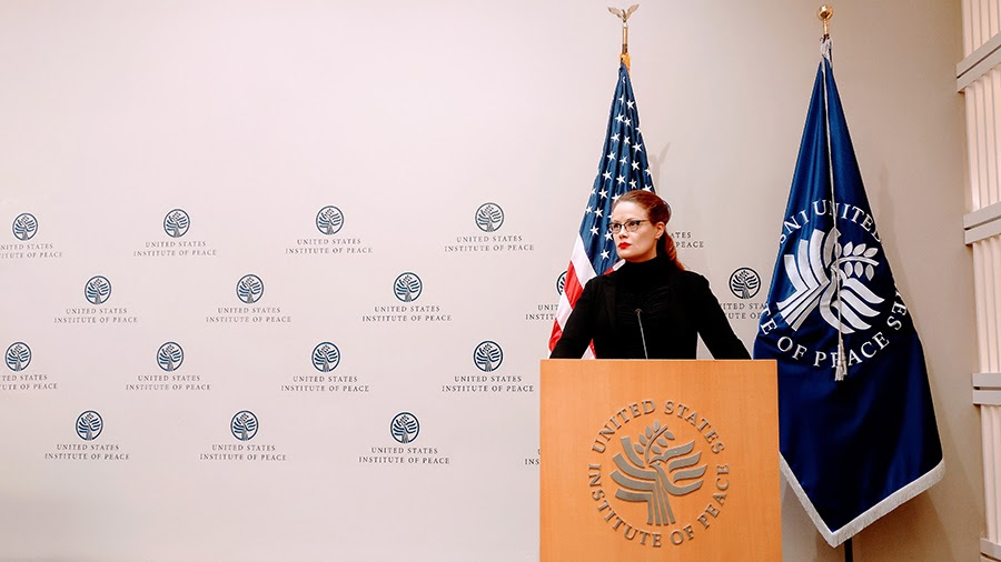 Alt Text: Wheeler at the United States Institute of Peace.