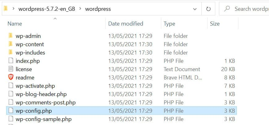 Adding the downloaded wp-config.php file in the WordPress folder.