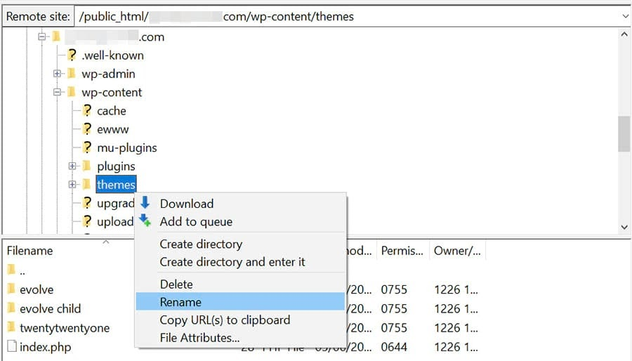 Renaming the themes folder in the site's root directory.