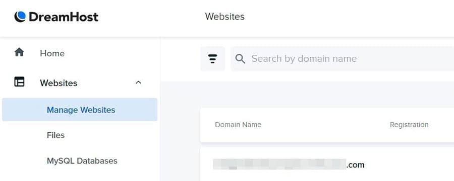 Managing your websites in DreamHost.