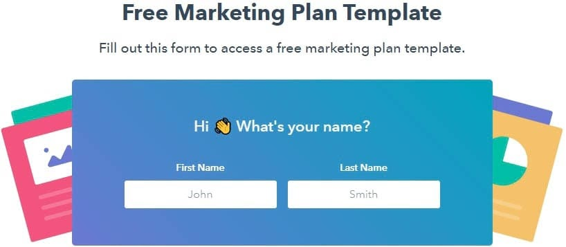 A lead generation form with labels and example text.