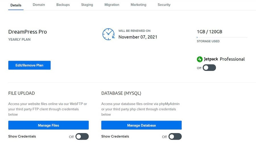 Accessing your file manager via your DreamHost account.