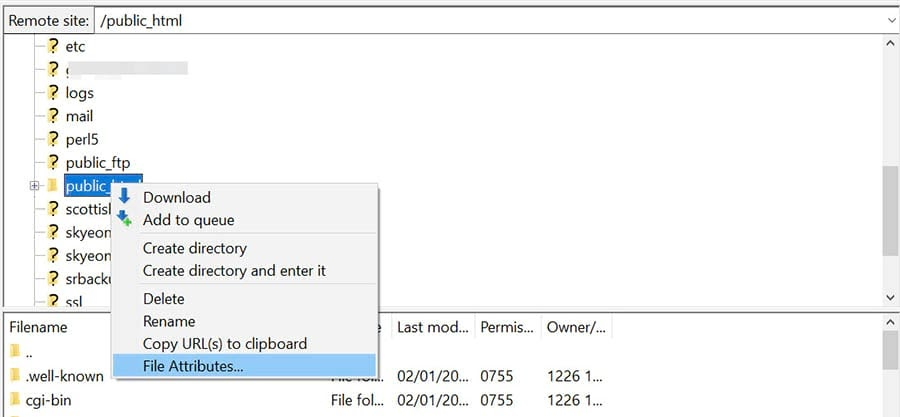 Changing the file permissions using FileZilla