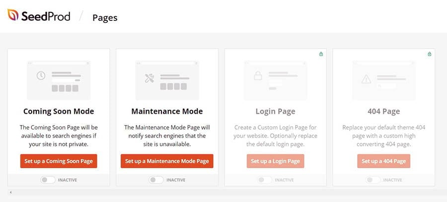 Creating a maintenance mode page using the SeedProd plugin