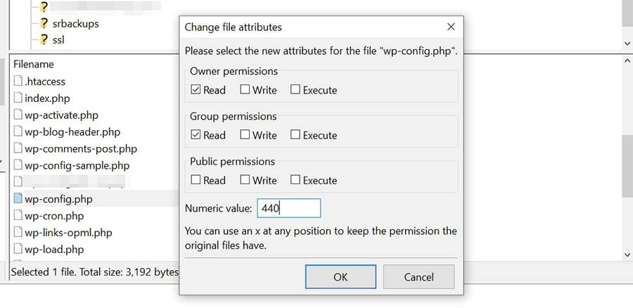 Changing the permissions for the wp-config.php file in FileZilla.