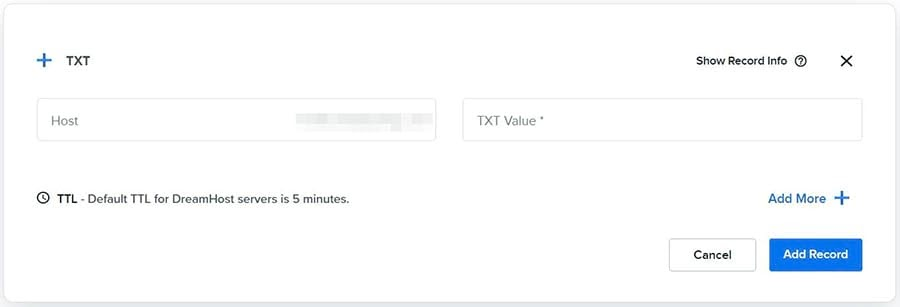 Adding a TXT record in DreamHost.