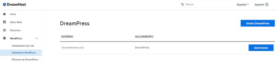 Accediendo tu dominio en tu cuenta DreamHost.