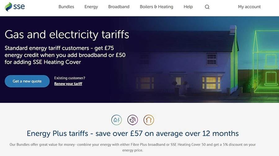 La página inicial de SSE Energy.