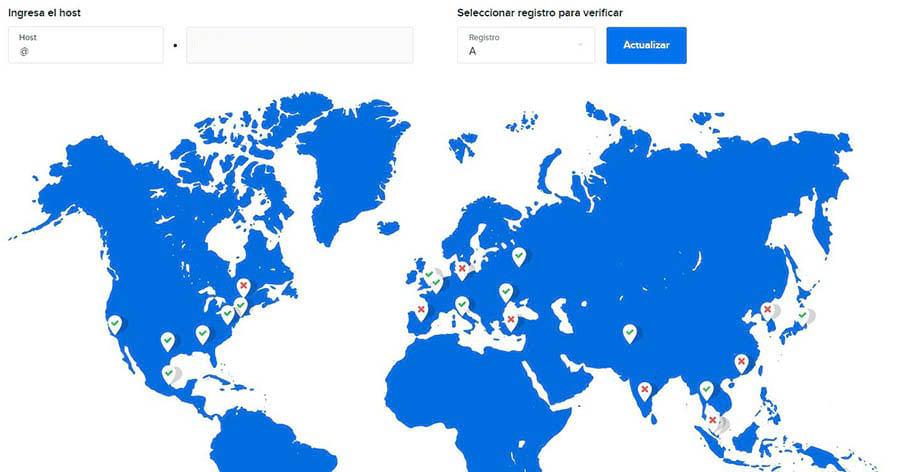 Usando el Comprobador de DNS para ver el estado de tus registros.