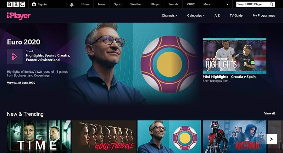 The BBC iPlayer home page.