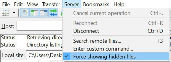 Showing hidden files in FileZilla