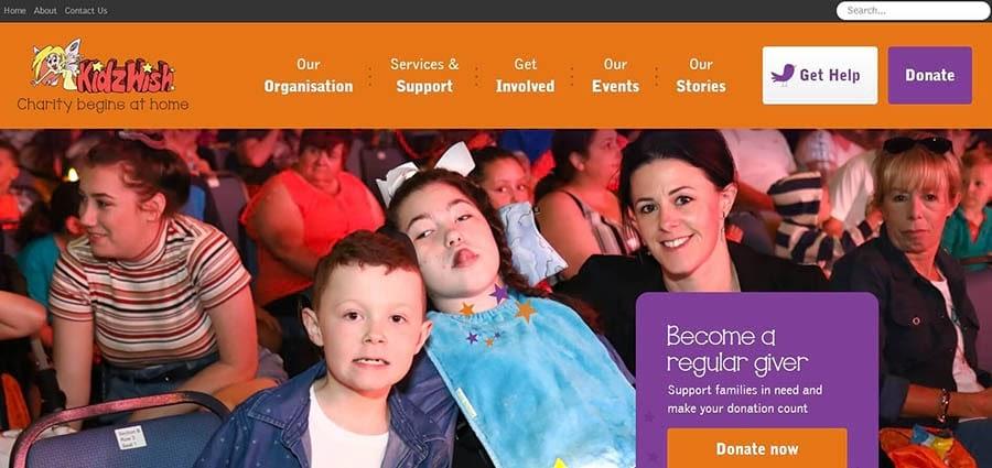 The KidzWish home page.