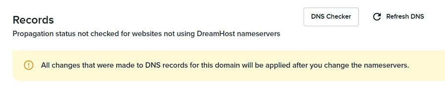Accessing the DNS Checker in your DreamHost account.