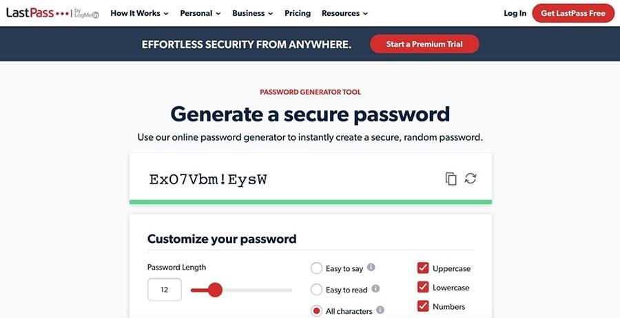 The LastPass password generator.