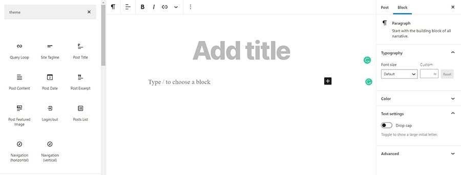 Theme blocks in WordPress.