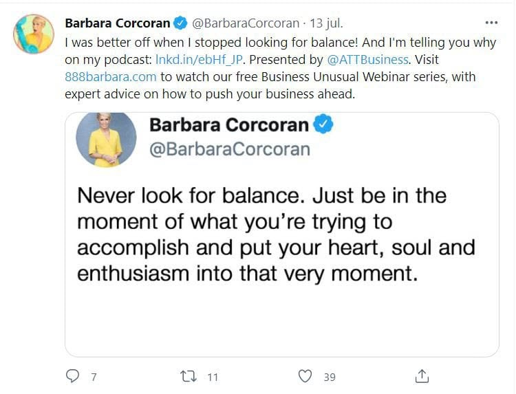 Barbara Corcoran's Twitter account.