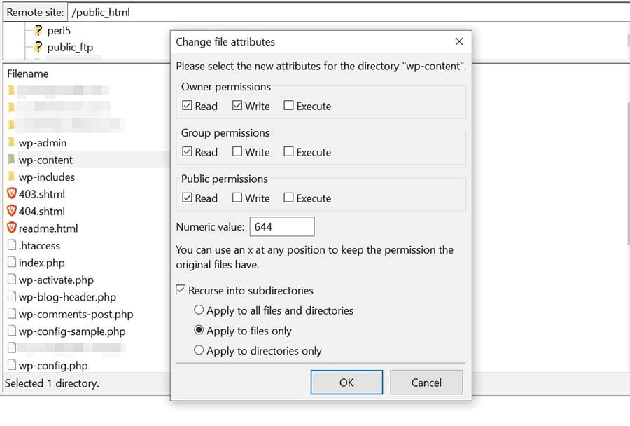 Changing the file permissions of your files in FileZilla.