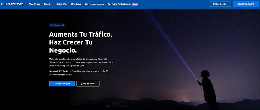 La página inicial de SEO Toolkit de DreamHost